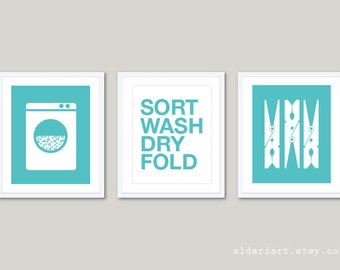 Laundry Art Prints  - Set of 3 - Laundry Room Wall Art - Laundry Decor - Modern Home Decor - Wash Dry Fold - Aqua Blue Turquoise