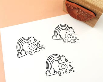 Rubber Stamp, Laser Engraved Stamp, Rainbow Stamp, Rainbows, Love and Hope, Hand Drawn Stamp, Inspirational Stamp, Uplifting Stamp