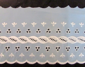 "Beautiful Vintage (1960's) Blue Cotton Eyelet 6"" wide Trim BTY"