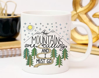 Adventure Mug, The Mountains are Calling, Camping Mug, Travel Quote Coffee Mug, Gift For Travel Lover,  Adventure is out There, Wanderlust