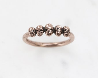 Tiny Skulls 9kt rose, yellow, or white gold ring