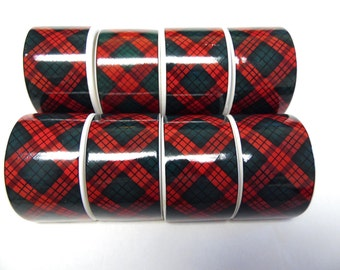 Red Green Tartan Napkin Ring White Glass Set of 8
