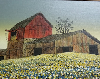 H. Hargrove, Original oil painting on canvas artist H. Hargrove, Red Barn, Meadow of Flowers, Hay Stack, Farm, Country Folk art Painting