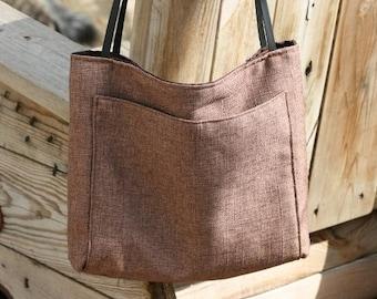 Shoulder Bag, Big Canvas Handbag, Canvas Shoulder Bag, Big Handmade Linen + Polyester Bag, Handmade Gift , Gray Shoulder Bag,