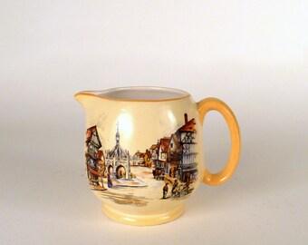 Vintage Small Pitcher Coffee Creamer Lancaster EnglandOld Town illustrattion  Porcelain home decor kitchen Housewares Beige colorfield