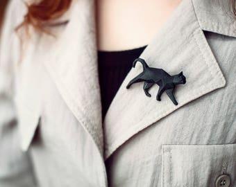 Black Cat - 3D printed Polygonal Brooch