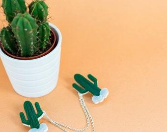 Cactus Collar clips - Western collar clips - Cactus Gift - Collar clips - Cactus Jewellery - Statement jewellery  - saguaro jewelry