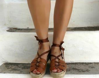 Gladiator Espadrille Sandals. Leather Espadrilles. Summer Flat Shoes. Handmade Greek Sandals. Boho Women's Shoes. Gift for Her. Alpargatas