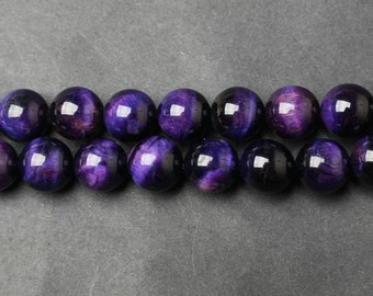 B162 Natural Purple Tiger Eye Beads Supplies, Full Strand 4 6 8 10 12 14 16mm Round Purple Tiger Eye Gemstone Beads for DIY Jewelry Making