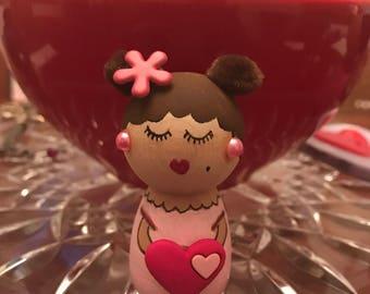 Kawaii Wooden Kokeshi Little Ms.  Bea Valentine