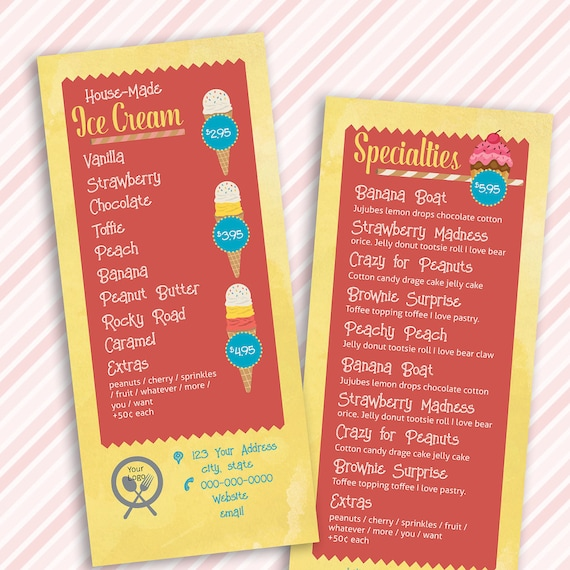 Colorful Ice Cream Shop Rack Card Menu Template Perfect for