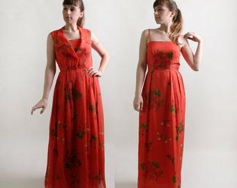Vintage Maxi Dress - Two Piece Floral Chiffon Overlay Floor Length Gown - Orange Silk Chiffon Tiki Fashion - Medium