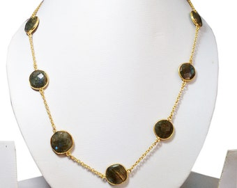 "Natural Labradorite oval faceted stone brass gold plated long chain 24"" necklace"