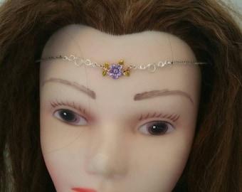 Flower pixie head chain tiara headpiece