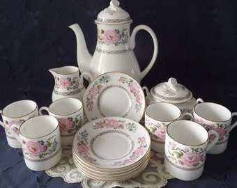 REDUCED Royal Worcester Fine Bone China Coffee Set, Coffee Lover, Espresso Drinker, Wedding Gift, Gift for Her, Gift for Couple, Coffee Pot