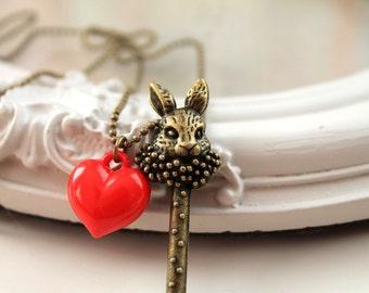 Alice in Wonderland necklace White Rabbit key red heart
