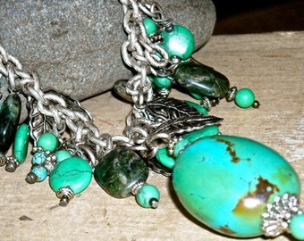 Turquoise and Silver necklace  SCARAB   FREE SHIPPING  artisan jewelry by mary vogel lozinak srajd