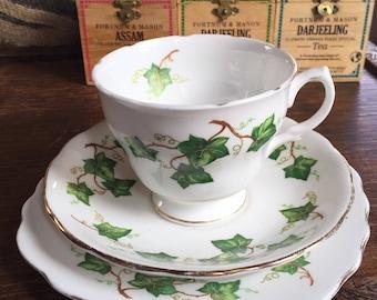 "Vintage Teacup, Colclough Bone China"" Ivy Leaf "" Trio. Vintage Colclough English bone China, tea for one, afternoon tea."