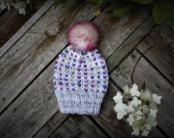 Hand Knit Baby Hat, Knit Hat with Pom Pom, Baby hat with Pom Pom, Hand knit baby beanie, Handmade Baby Hat, Fall Baby, Chunky Knit baby Hat