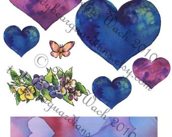 Blue and Purple Hearts - Digital Elements of Collage - Printable PDF
