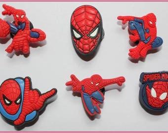 6 x Spiderman Croc Shoe Charms Jibbitz *S47*