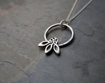 Coneflower Necklace in Sterling Silver with Hoop, Artisan Handmade Inspired by the Prairies of Kansas
