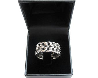 925 sterling silver wedding band chain link ring men women artisan jewelry