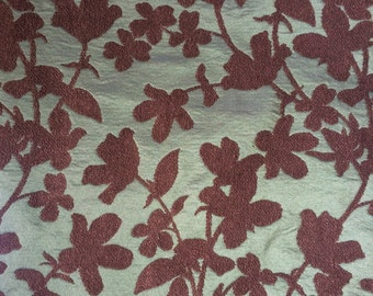 Green + Brown Floral Fabric 3 yard piece