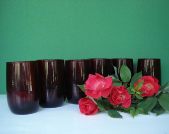 Vintage Juice Glasses Set of 6  - Royal Ruby Roly Poly Pattern by Anchor Hocking