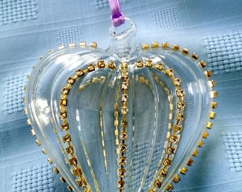 Vintage Glass Heart Ornament, Valentine Rhinestone Trim