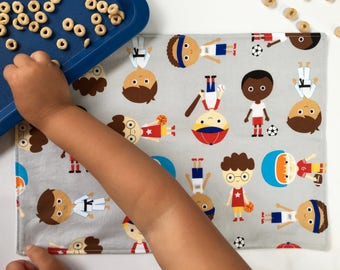 Sports Kids Placemat (Boy Placemat, Montessori Placemat, Football Player, Karate Placemat, Baseball Bat, For Toddlers, Cloth Placemat)