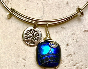 Royal & Blue Dichroic Glass Bracelet, Dichroic Glass Jewelry