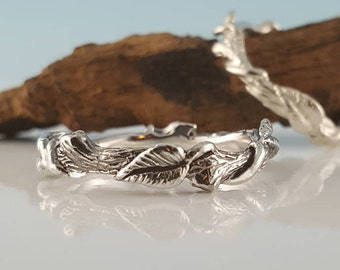 Hand Sculpted Leaf Twig and Vine Silver Promise Ring, Eternity Ring, Light Oxidation, Wedding Ring, Engagement Ring by Dawn Vertrees