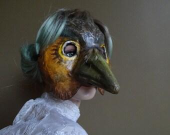Bird mask bird costume paper mache bird mask Woodpecker mask