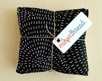 Organic Lavender Sachet in Moda Thicket Black Cotton & Natural Linen Set Handmade Hostess Gift - 2 Sachets Natural Home Wedding Favors