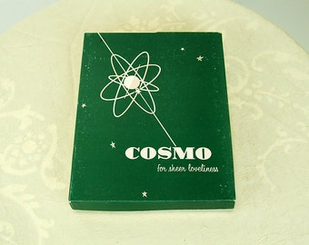 1960s panty hose in white THREE PAIR in original Cosmo box Size Medium