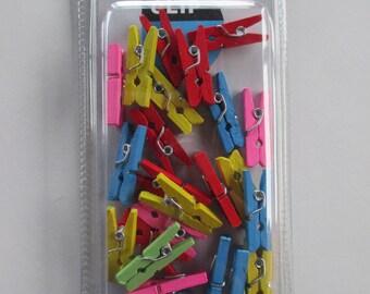 25 mini clothespins, wooden, multicolor, 25mm x 7mm