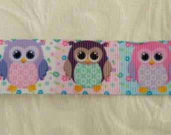 GROS GRAIN RIBBON OWLS AND HEARTS WHITE FLOWERS