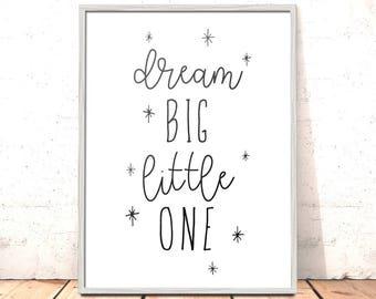 Scandinavian Nursery Print | Dream Big Little One Nursery Print | Art for Boys Room | Girls Room Decor | Kids Room Decor | Nursery Decor