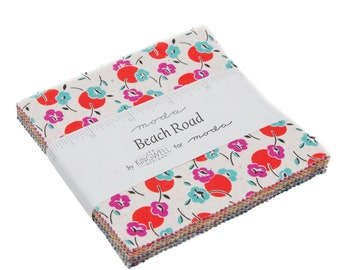 Beach Road Charm Pack by Jen Kingwell for Moda Fabrics, 42 pieces 5x5 inch fabric squares--colorful--18132PP Moda Precuts