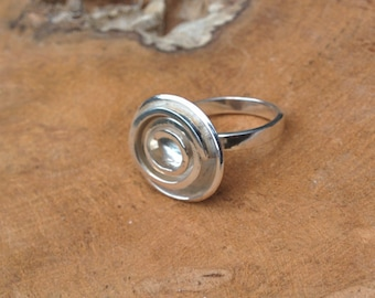 Silver Spiral Ring - Handmade Ring - Size 8 - Size P - 18mm