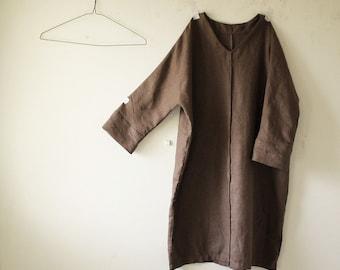 LINEN DRESS - GRACE / v neck / women / linen clothing / linen tunic dress / organic / eco / flax tunic / made in australia / pamelatang
