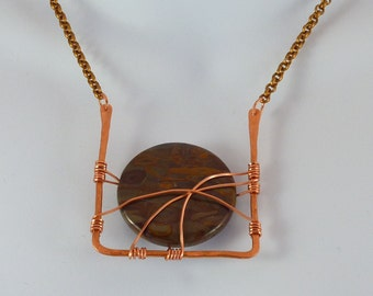 Chrysanthemum Jasper wire wrapped necklace