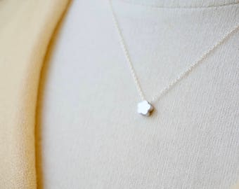 Silver Flower Necklace - Tiny Flower Charm Necklace, Girl Necklace, Minimal Necklace, Simple Necklace, Petite Flower, Dainty Jewelry