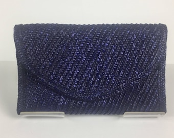 Vintage 1980s Black and Navy Straw Clutch