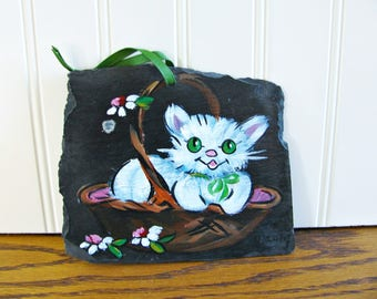Vintage White Cat Painting Slate Painting Cat Art Slate Art Cat Folk Art Painting Cat in Basket Nursery Art Cat Rescue