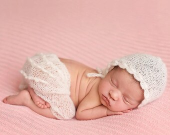 Newborn rompers photo props/knitt for baby/first photo/hand made/gift for baby/Mohair Newborn Romper