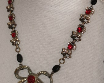 """Vintage """" Victorian Bow """" Silver Plated assemblage necklace Repurposed, Rhinestones, One of a kind Jewelry"""