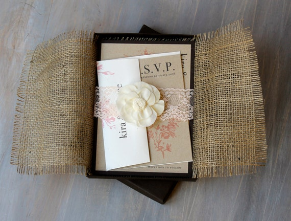 Burlap and Lace Boxed Wedding Invitations Rustic Chic Wedding