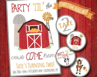 Farm Birthday Party Invitation - Party Til The Cows Come Home - Farm Animals Invite - Rustic Country - Little Boys First Birthday